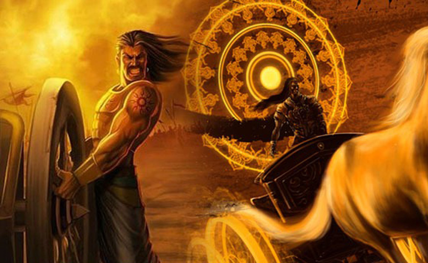 karna stuck with his chariot wheel causing death