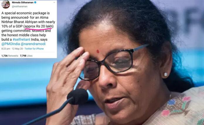 nirmala sitharam made error in tweet