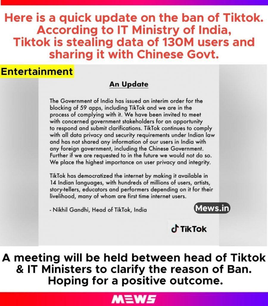 government statement on tiktok ban, says 130mn data stolen