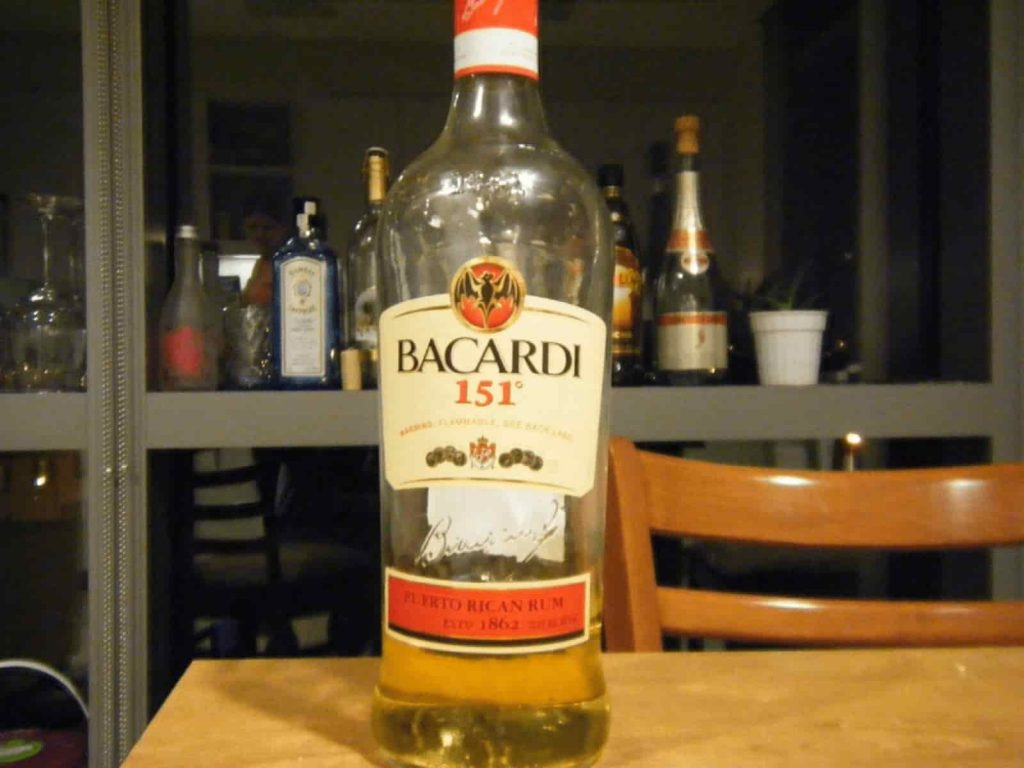 Bacardi 151 alcohol with 75% ABV