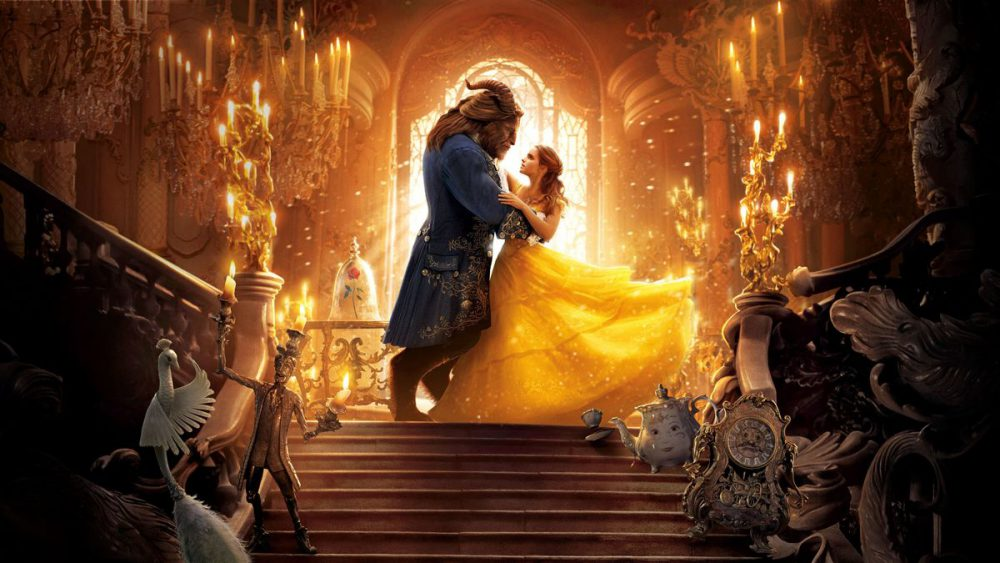 movie scene of Beauty and the Beast dancing in the palace