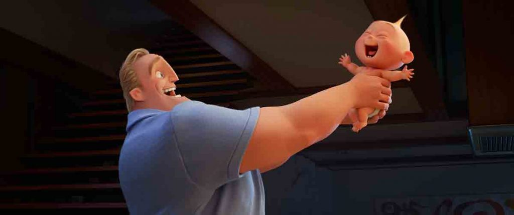 The Incredibles 2 father handling baby