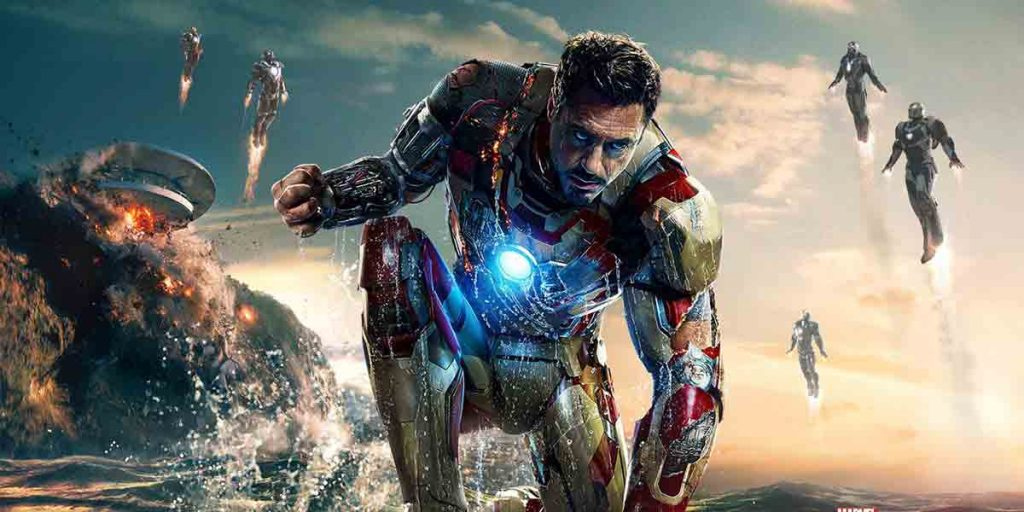 Iron Man 3 fighting scene with many other iron suits