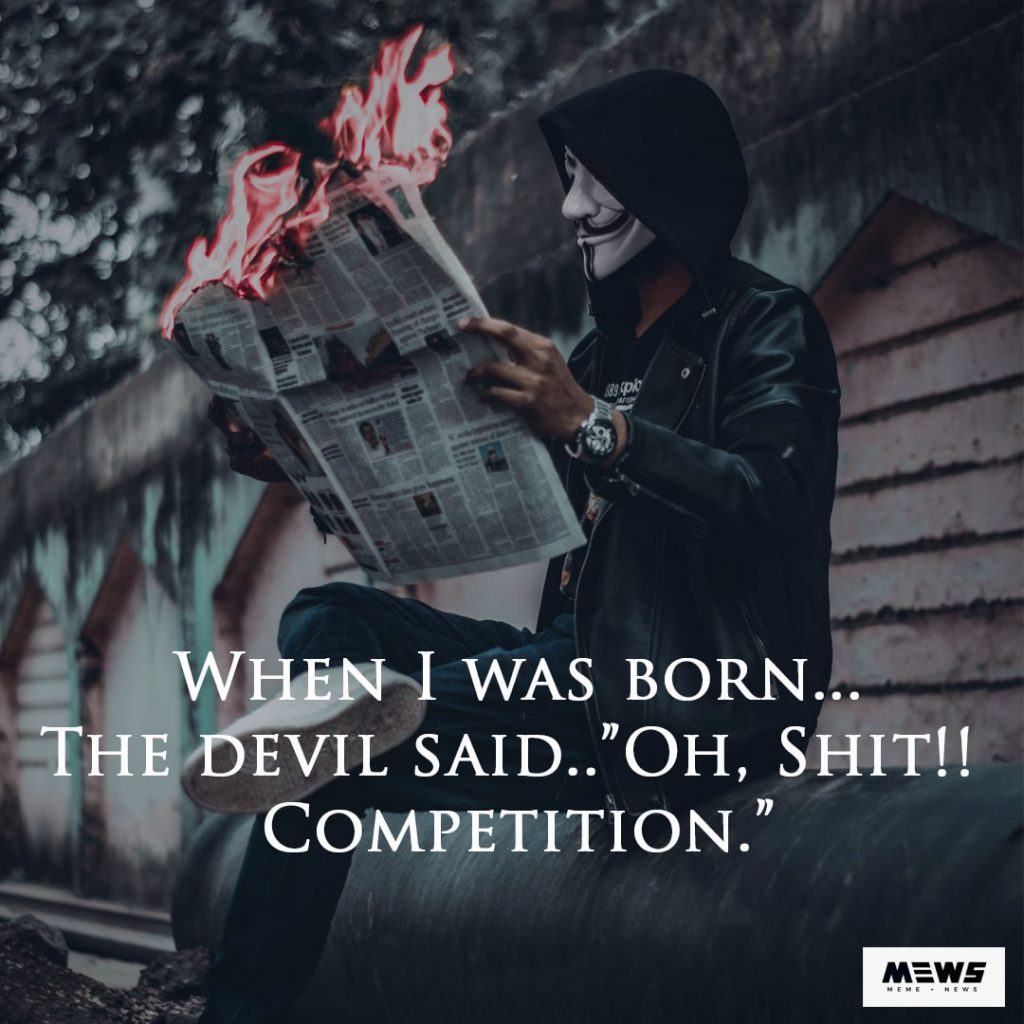devil's competition - attitude quote for boys