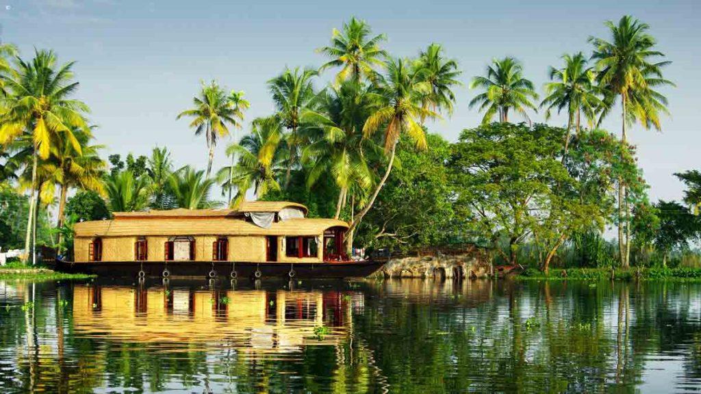 Kerala boat house in lake