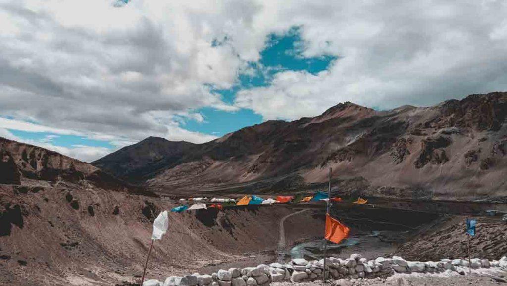 ladakh mountains and tibetan prayer flags