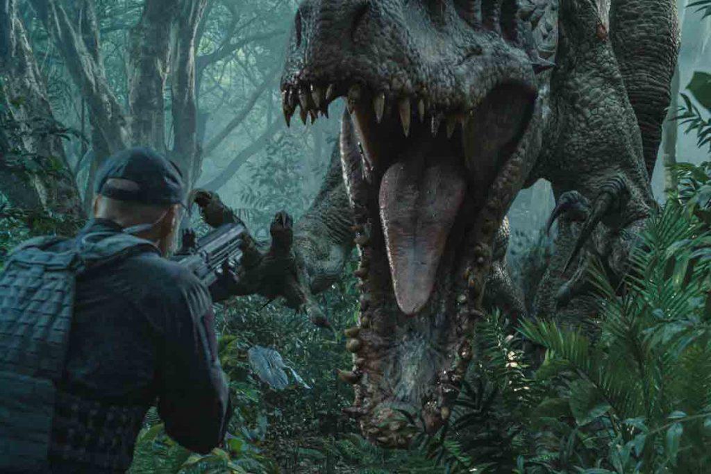 Jurassic World scene of dinosaur approaching a man