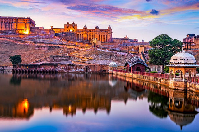 beautiful Amer fort beside Maota lake at Rajasthan