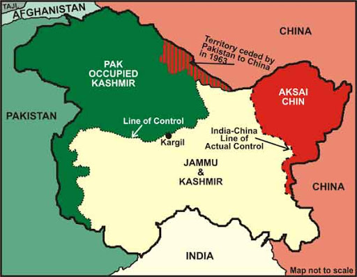 map of pok and surrounding countries on border