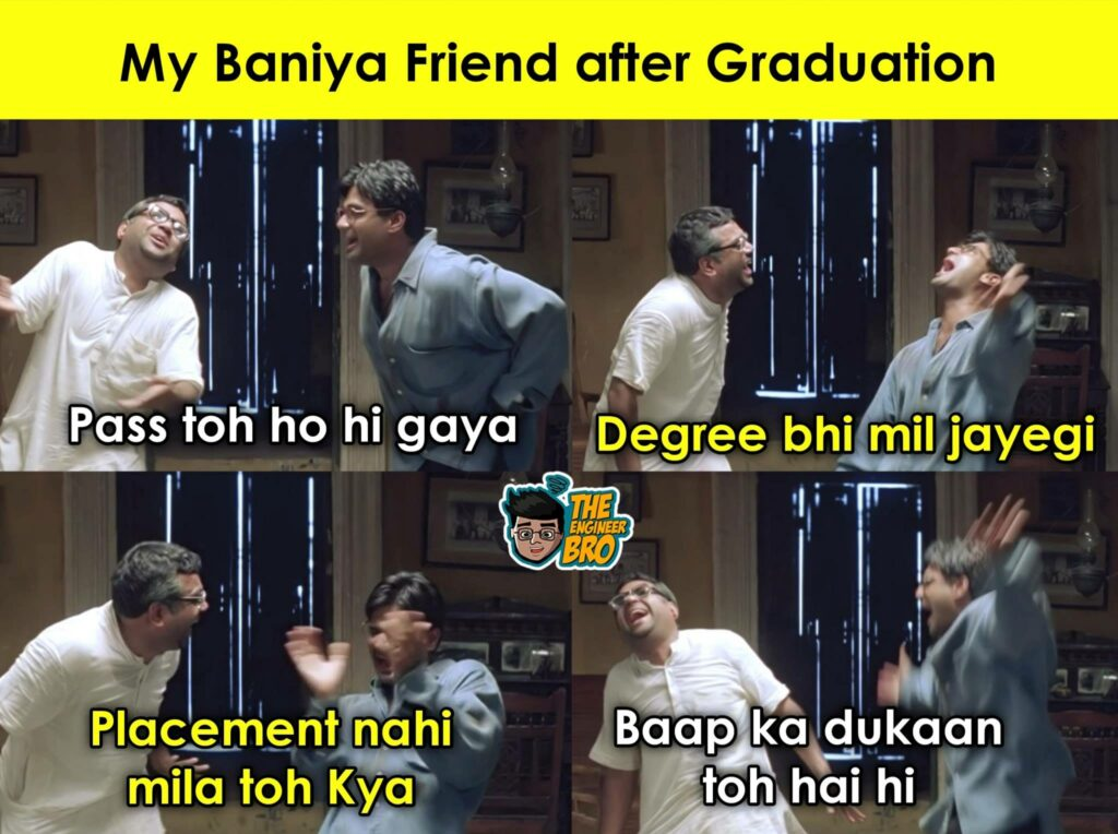 Hera Pheri MEME of baniya friend after graduation