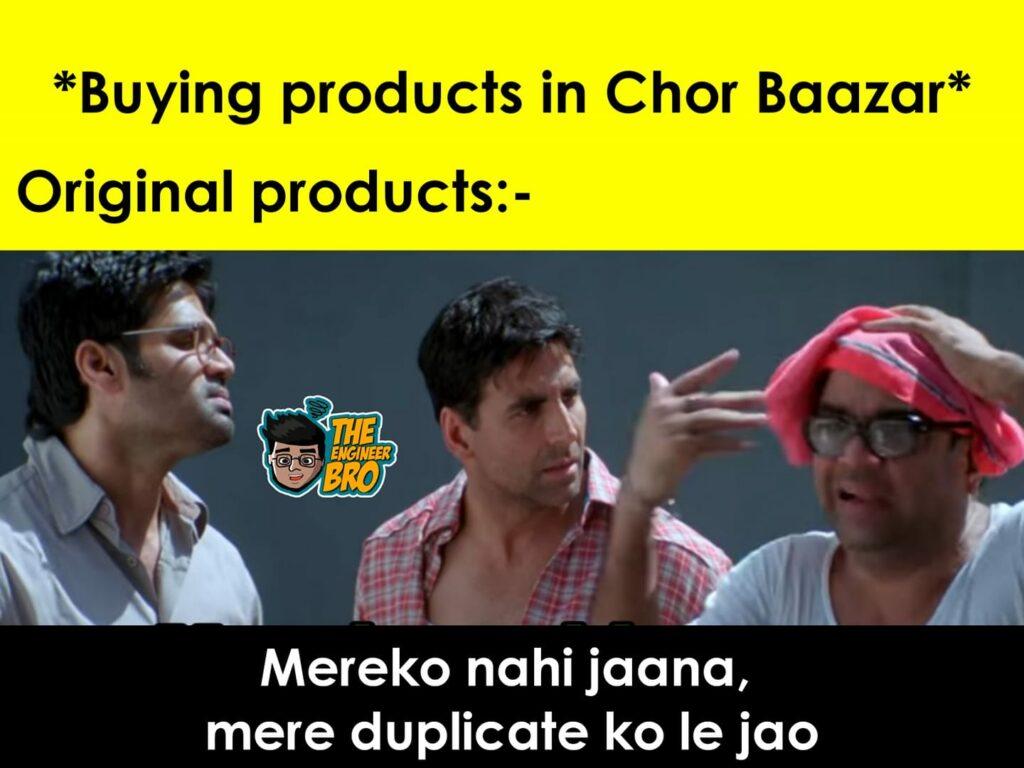 Hera Pheri meme of buying products in chor bazaar
