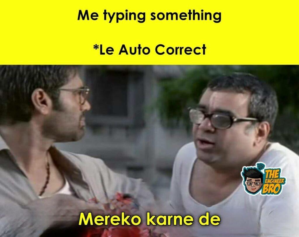 autocorrect while typing meme based on Hera Pheri