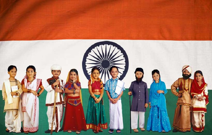 indian kids from different religion at one place