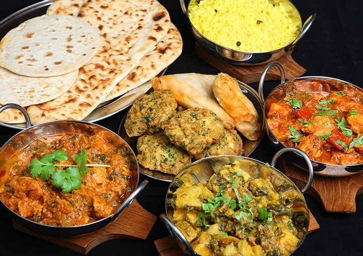 variety of indian food on table