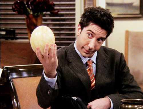 ross and his dinosaur egg or thing