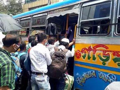 no social distancing while boarding buses in kolkata