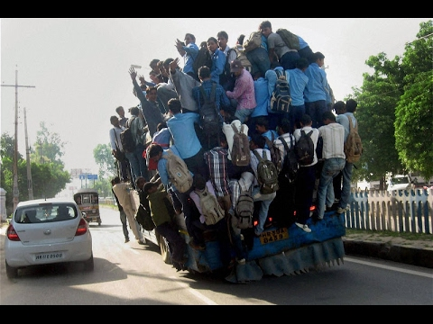 overcrowded bus in india