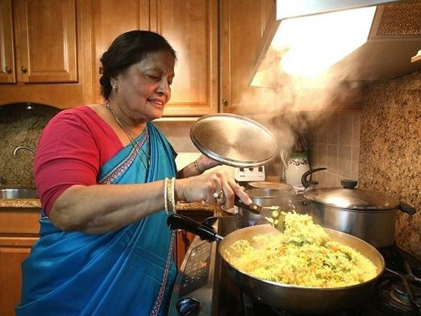 indian mom cooking for children