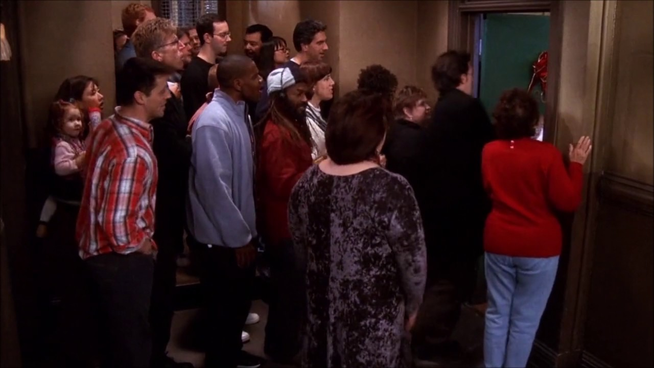 neighboutrs gathering infront of monica's apartment