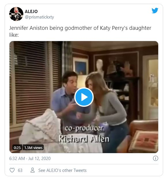 jennifer is godmother of katy perry's daughter twitter reaction
