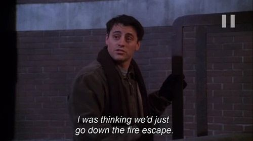joey suggesting fire escape idea while stuck on roof