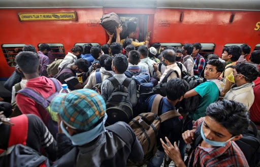 people boarding trains without social distance