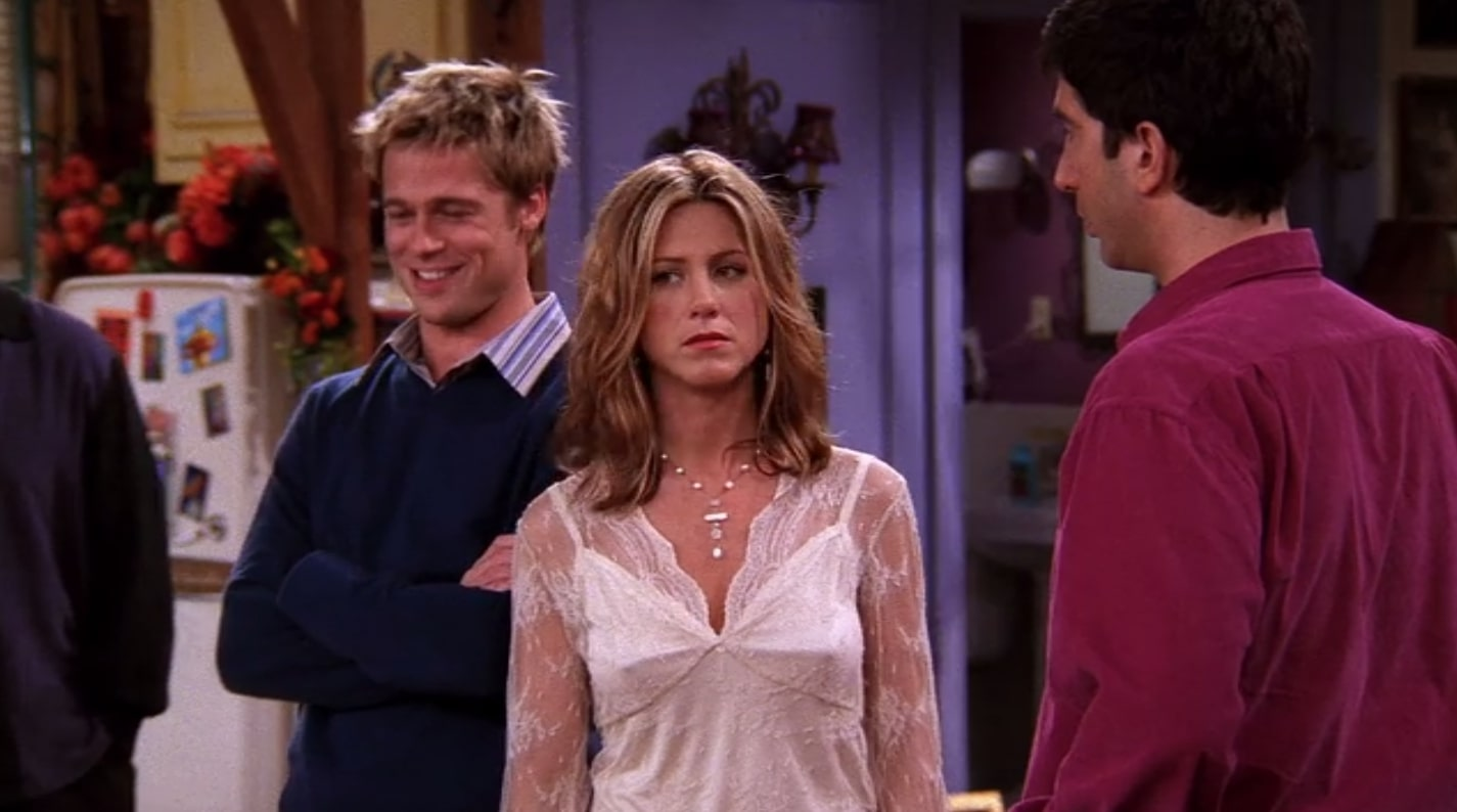 brad pitt and jennifer aniston in friends working together