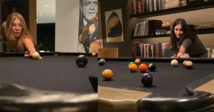 courteney cox and jennifer aniston playing pool