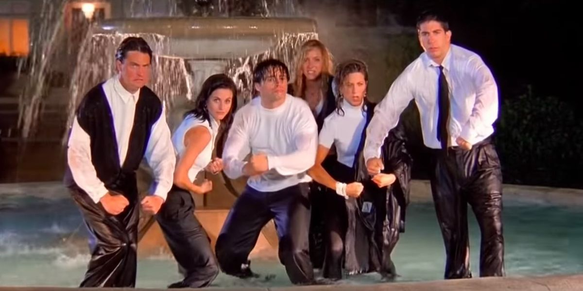 friends cast all drenched in water while shooting theme song