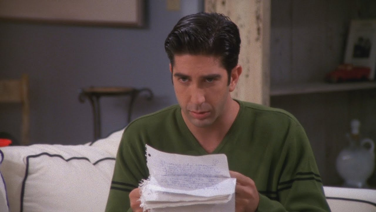ross reading the 18 page letter written front and back by rachel