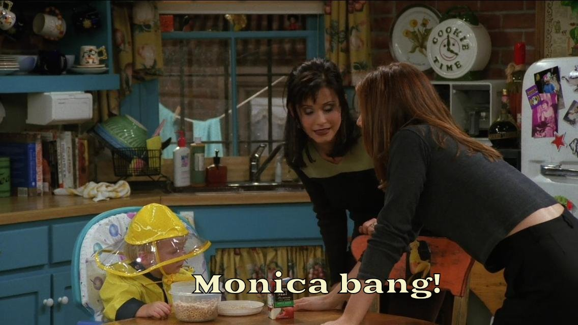 monica bangs head on wall when they were taking care of ben