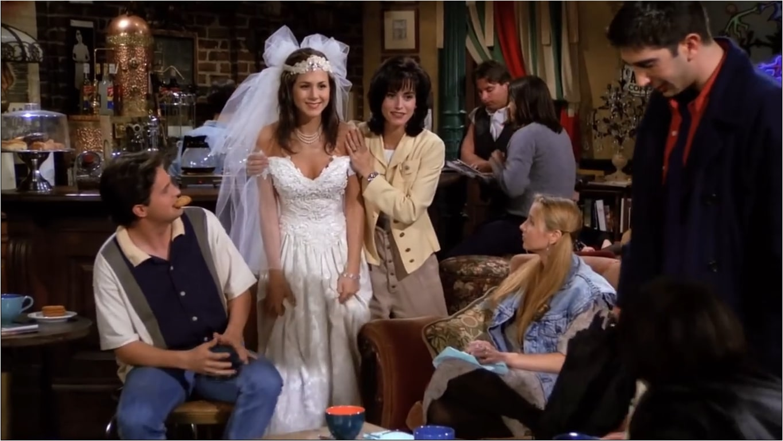rachel coming in as bride in first episode of friends