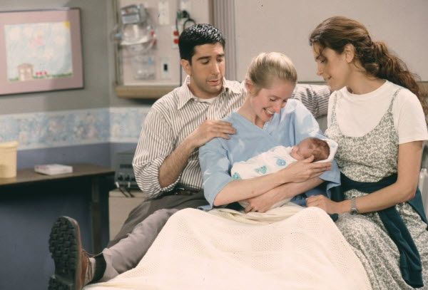ross with susan and carol while having baby