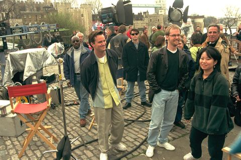 chandler in outdoor filming shoot for friends