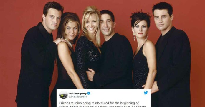 friends reunion is rescheduled and matthew perry posted it on twitter