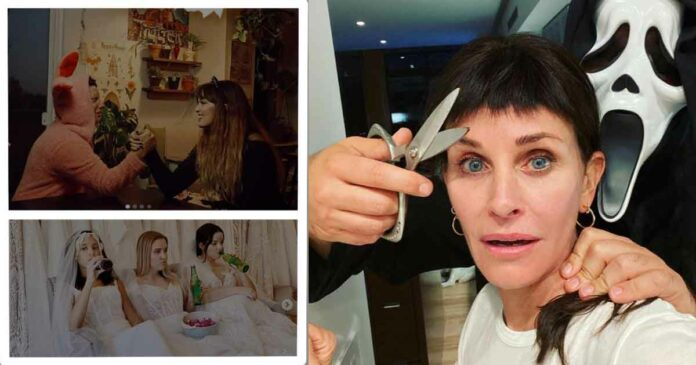 monica celebrating halloween with an odd haircut