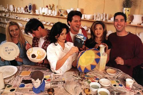 friends cast doing pottery
