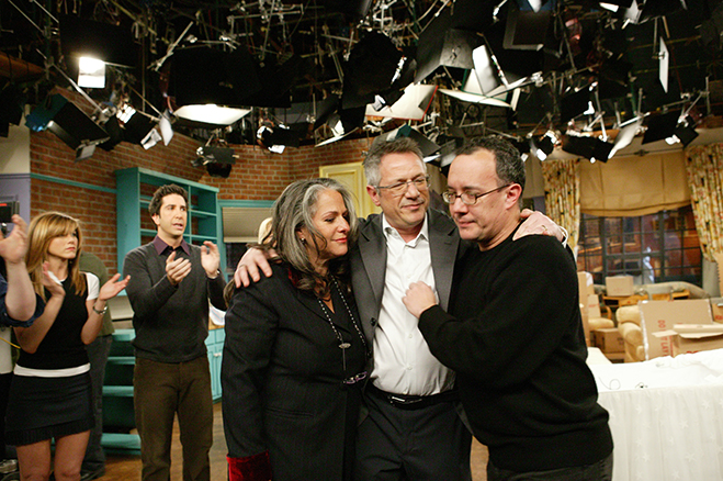 david crane, marta kauffman and kevin bright on the last day of friends