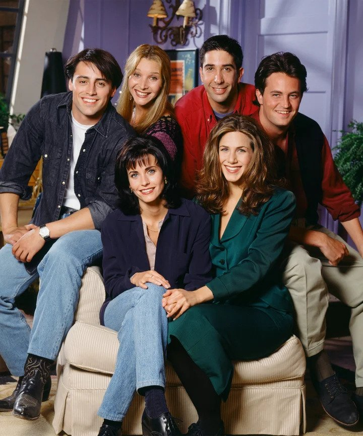 friends cast posing to the camera