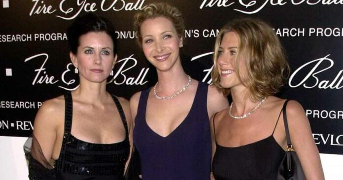 three girls from friends phoebe, monica and jennifer receiving awards