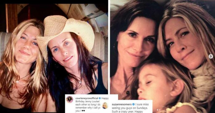 jennifer aniston and courteney cox from an instagram post by courteney to jennifer birthday