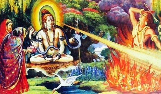 Lord Shiva burns Kamadeva