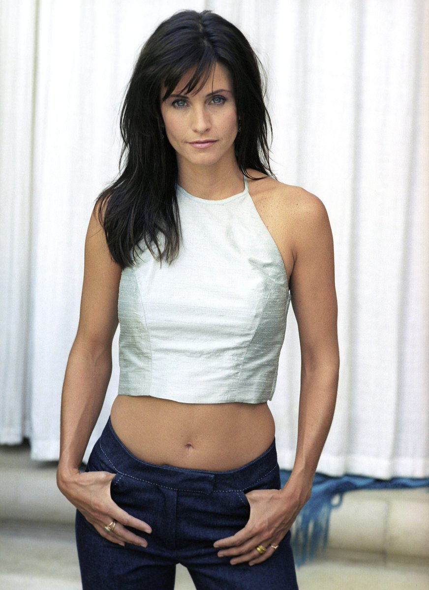 courteney cox in white top and sexy looks
