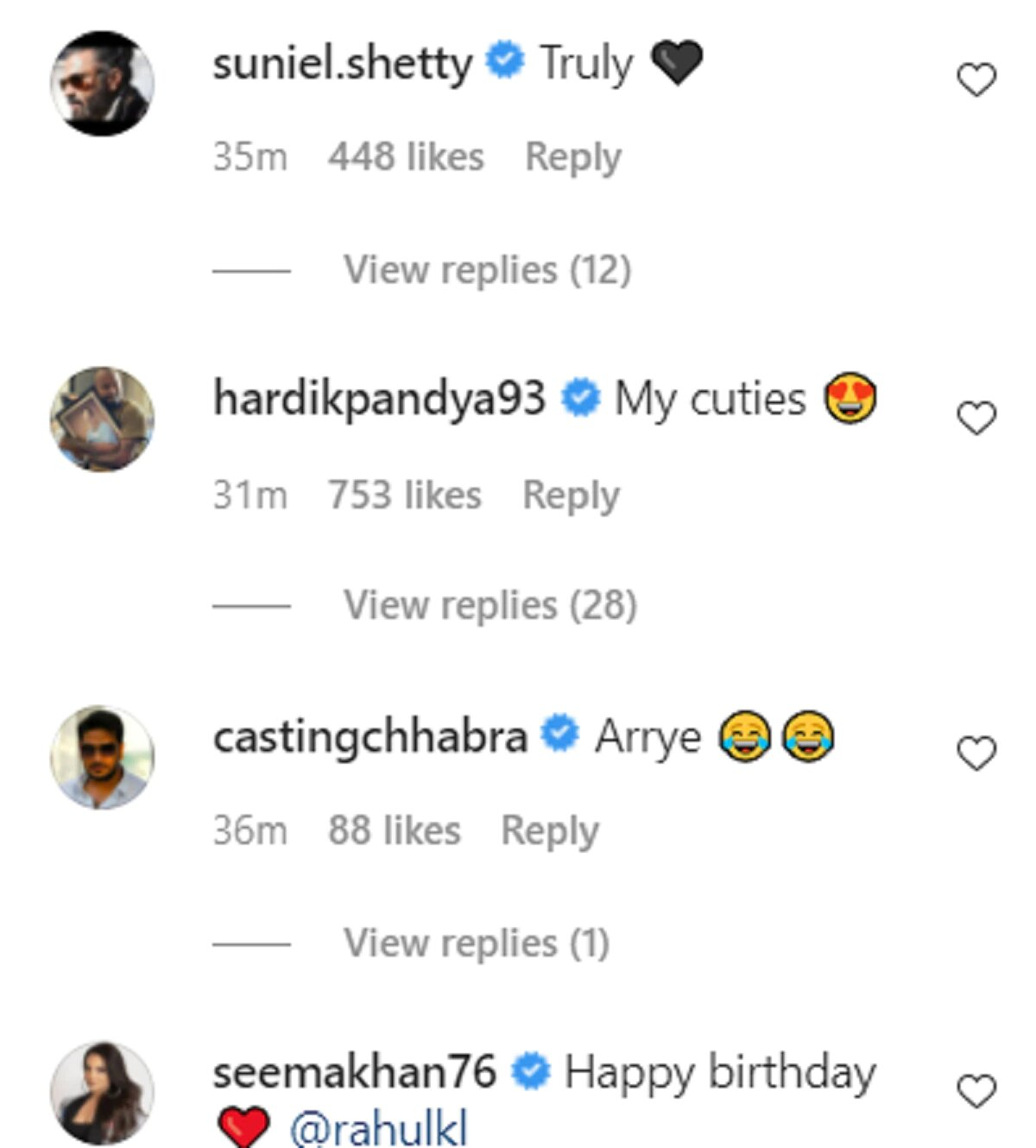 suniel shetty comment on athiya shetty wish to KL rahul