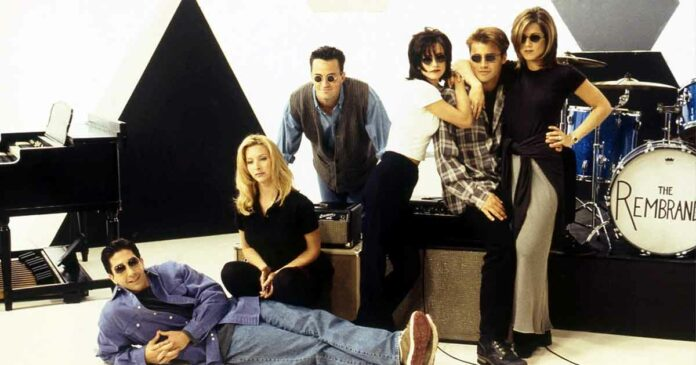 photoshoot of the friends cast while recording the friends theme song