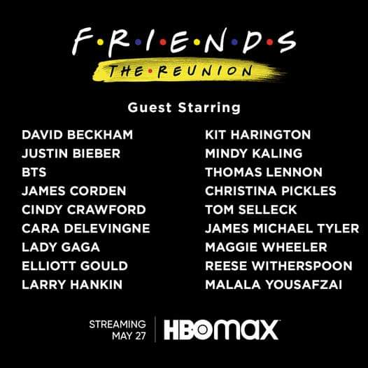 friends reunion guest list revealed by hbo