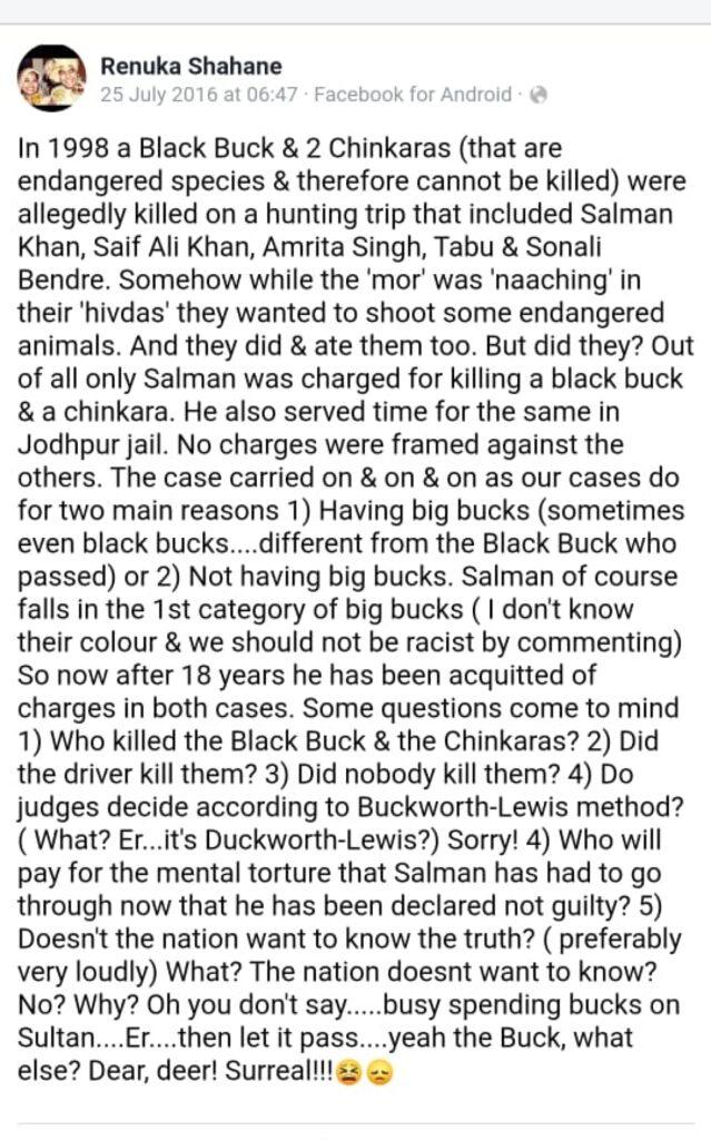 Renuka's post on Salman Khan