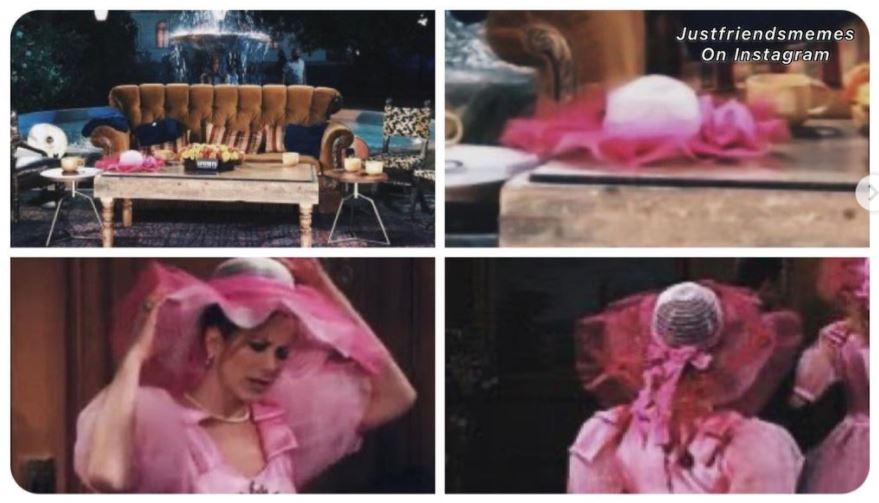 friends reunion leaked image of rachel's pink hat