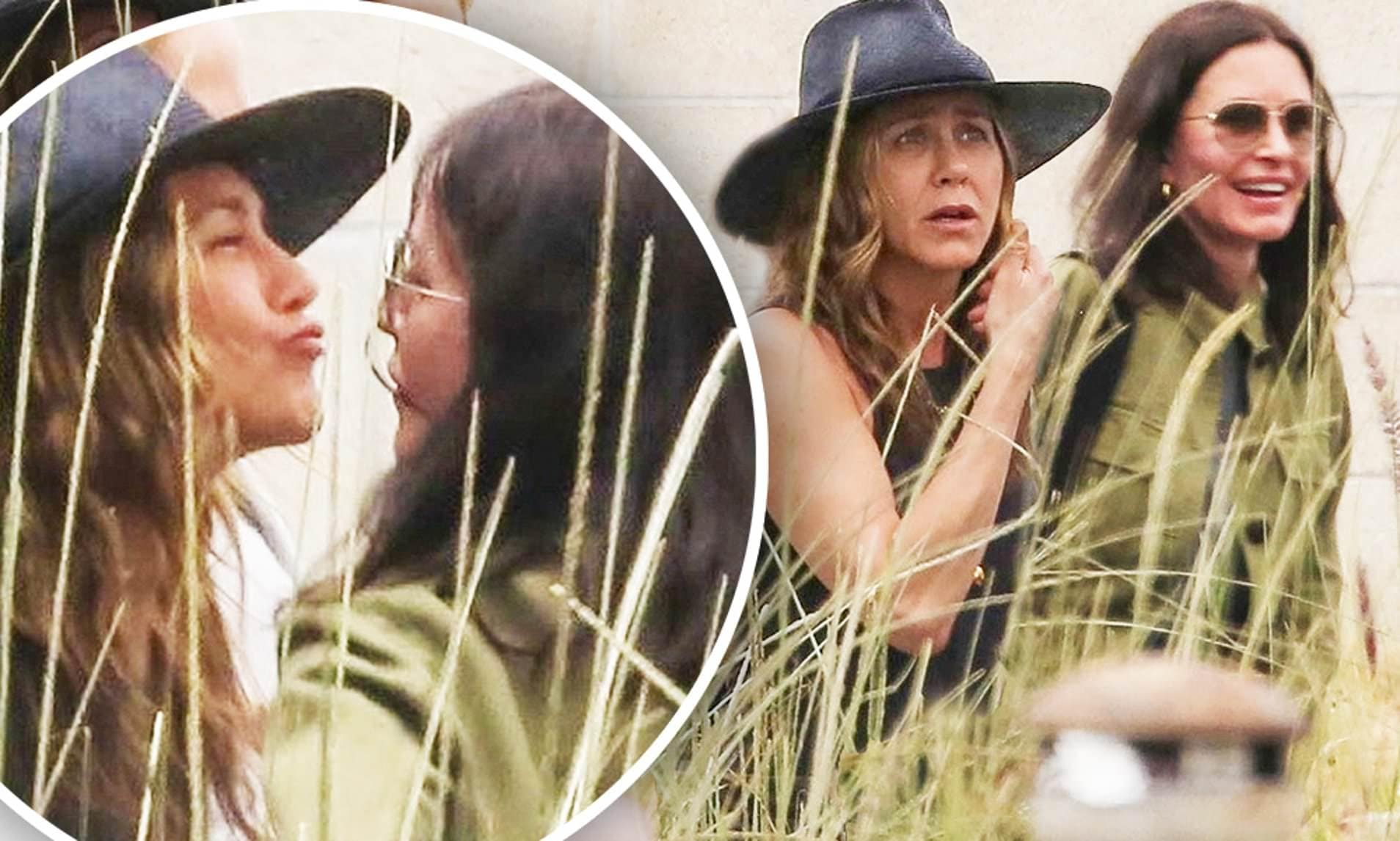 jennifer aniston and courteney cox kissing each other outdoors to greet
