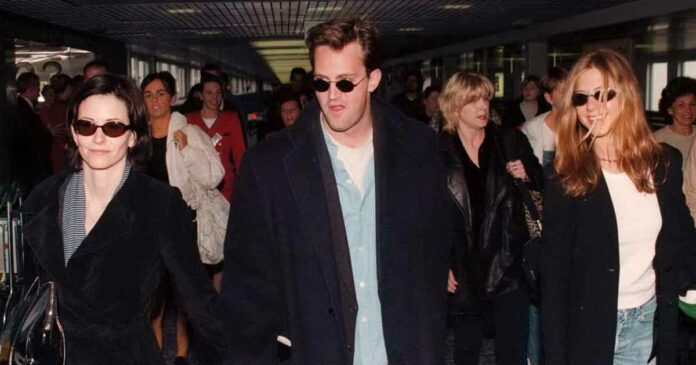 jennifer aniston, courteney and matthew perry heading out from the airport